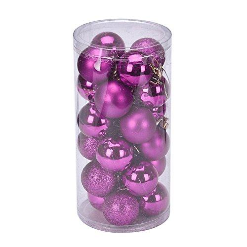 YARBAR Navidad Ornamentos de la bola exquisito colgante colorido paquete de decoraciones de las bolas de 24pcs