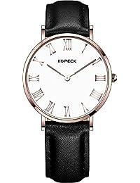 Kopeck Rose Dorado Acero inoxidable números romanos hora marca esfera blanca relojes para las mujeres