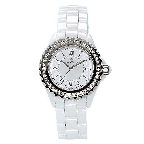 Stella Maris STM15E2 -Women's Watch - White Watch Dial - Analog Quartz - White Ceramic Bracelet - Diamonds - Swarovski Elements - Stylish - Classy