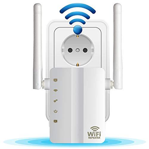 Wlan Repeater Signal Verstärker ( 300 Mbit/s, 2 LAN-Ports, WPS, kompatibel mit allen WLAN Geräten, Geeignet für Deutschland) (300M)-Kompatibel mit Alexa, erweitert WLAN auf Smart Home & Alexa Geräte