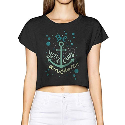 Frauen Sexy Revealed T-Shirt Anker Boot nautischen Kurzarm Bluse Tops Tee Nabel (groß, schwarz) - Cowl Neck Cream