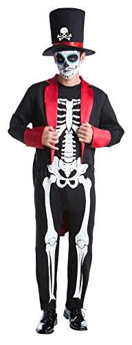 Kinder Toten Für Der Tag Kostüme (,Karneval Klamotten' Kostüm Tag der Toten Senor Bones Day of the Dead Halloween Herrenkostüm Overall, Frack inkl. Zylinder Größe)