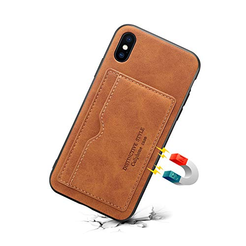 JiesenSJK Ledertasche für iPhone XsMax XR XS X 7plus 8plus mit Kreditkartenetui Halter Brieftasche Leder-Handyhülle für die Rückseite,Brown,iPhone7/8 -