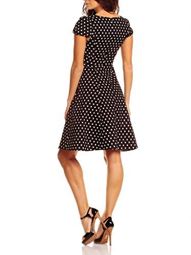 My Evening Dress Robe Vintage Trapèze Longueur Genou à Pois et à Courtes Manches pour Femmes Noir