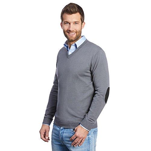 ALLBOW Grauer Herren-Pullover mit Patches schwarz, Casual und Business, V-Ausschnitt, XXL