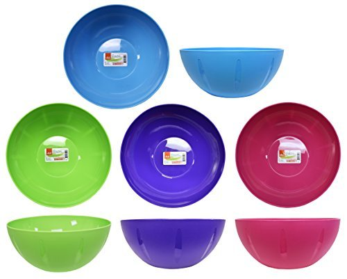 Lot de 4 Clic Home Design Grand Service et bols à mélanger (4 couleurs différentes) 135 Fl oz or 10x4.25in or 25.5x10.9cm pink, green, blue, purple