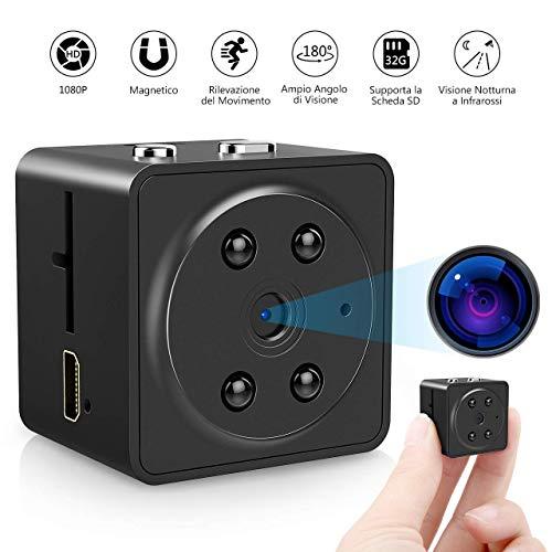 VICTSING Mini Kamera, Full HD 1080P Kleine Kamera Mini Cam mit Bewegungserkennung/Nachtsicht/Loop Aufnahme für Innen und Aussen - Mit Metallabdeckung aufgerüstet