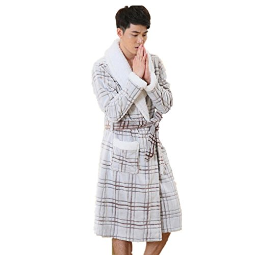 DMMSS Uomini autunno e l'inverno camicie da notte imbottito plaid pigiama di flanella accappatoio Sleepwear , m