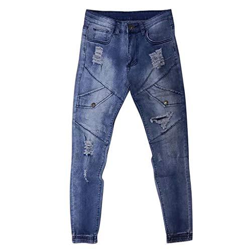 MOTOCO Herren Casual Jeans Broken Patchwork Slim Hosen Fashion Cotton Zipper Front Pockets Hosen(2XL,Blau) - Oshkosh Cord-overalls