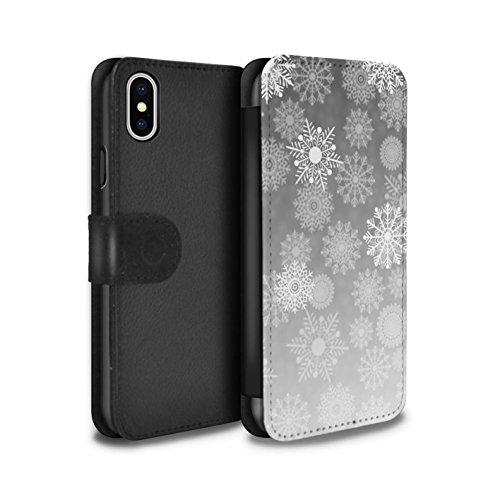 Stuff4 Coque/Etui/Housse Cuir PU Case/Cover pour Apple iPhone X/10 / Violet Design / Flocon de Neige Brume Collection Gris