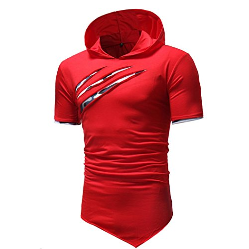 Hmeng Mens Sleeveless Feuchtigkeitstransport Muskel T-Shirts❤️ Tank Top Weste Bluse mit Kapuze O-Neck M-5XL (rot, 2XL) -