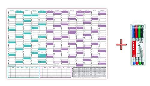 Schuljahreskalender 2019/20 DIN B1, nass abwischbar inkl. Stifteset, Kalender gerollt, 13 Monate Wandkalender -