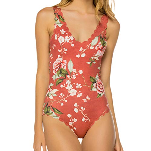 HULKY Damen Einteilige Blumen Badeanzug Monokini Falten Schwimmanzug Schlankheits Badeanzug Raffung Einteiler Bikini Set Push-Up Print Bademode Beachwear (Rot,M)