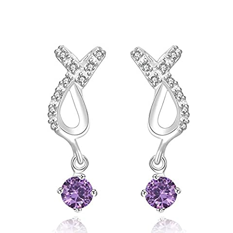 Gnzoe Jewelry 18K Silver Plated Drop Earrings Round Purple Crystal Eco Friendly