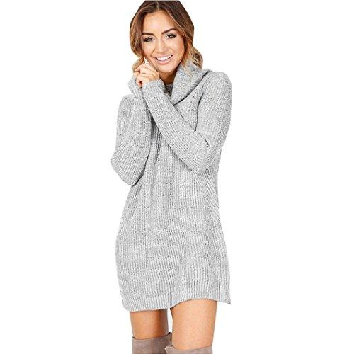 Damen Pullover Kleider Xinan Langarm Jumper Rollkragenpullover Mantel Bluse (S, Grau) (Kleider Herbst Pullover)