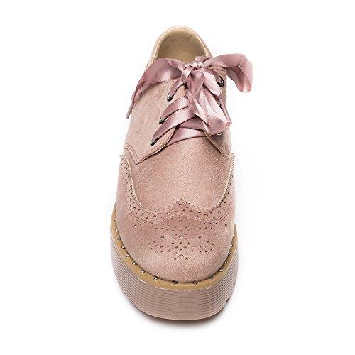Ideal Shoes Richelieu à Plateforme Effet Daim et Lacets Satinés Tamiana Rose