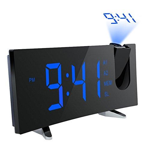 Radio Réveil de Projection, Holife Alarme FM Réveil Numérique Horloge de Table 2 Alarmes 3 Niveaux Luminosité Réglable Grand LED Ecran 5 Pouces avec Fonction Snooze, Minuterie de Sommeil, Recharge USB, 12/24 heures, Rotation 120° Projecteur 180° Flip