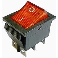 Interruptor basculante momentáneo DPDT iluminado con luz roja de 22 x 30 mm, 6 pines legend:I-O