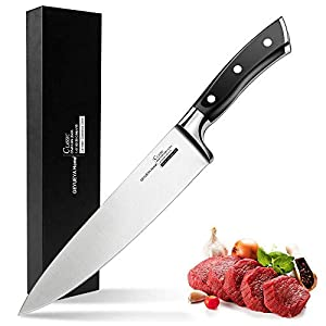 GEYUEYA Home Chef Knife 20 cm, Professional Kitchen Knife with German High Carbon Stainless Steel and Ergonomic Wooden Handle