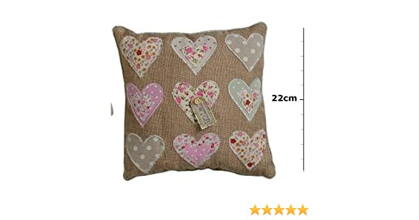 Small cwtch heart applique square cushion plain background