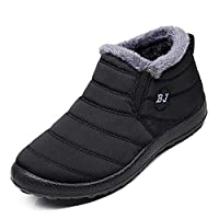 Gaatpot Fur Lined Winter Ankle Short Boots Slip on Snow Boots Casual Warm Bootie Flat Walking Shoes Mens Womens Size 6,Black