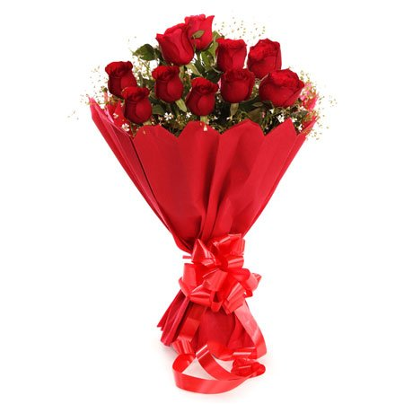 Floral Fantasy Fresh Flower Red Rose Bouquet - Bunch of 12