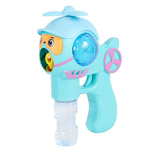 Toyanda bubble gun flugzeug geformt mit fan licht musik bläst bubble machine toys ohne batterie für kinder (blau) (Bubble Licht Gun)