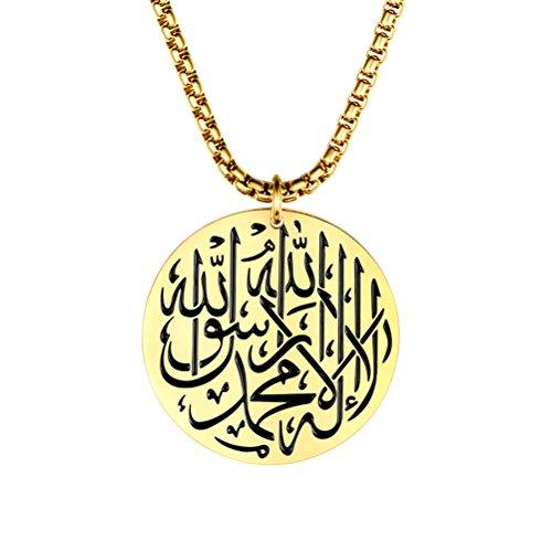 PAURO Herren Edelstahl Gott Allah Muslim Islam Runde Charme Anhänger Halskette Mit 24 Zoll Kette Gold