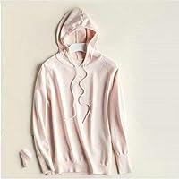 DANANGUA Mujer de la Manera sólida suéter Encapuchado Hembra Largo de la Manga de los Puentes Suaves Elegante suéter de Las señoras tiran Femme (Color : Pink, Size : L)