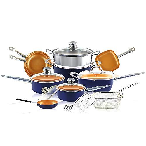 SIMPLE & Co Set di pentole in Rame Color Blu Marino 20 Pezzi con Padella Antiaderente, pentola per Salsa, casseruola, Padella Quadrata
