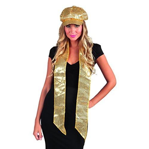 ailletten Schal Disco Damenschal Gold, 170 x 9 cm Revue Glitzerschal Damen Showgirl Schultertuch lang ()