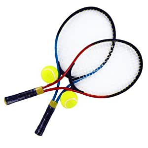 2 Player Tennis Racket Set With Balls Carrying Case Kids Garden Aluminium Metal Shopmonk