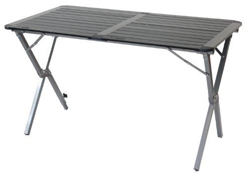 Yellowstone Campingtisch aus Aluminium mit zusammenrollbarer Tischplatte, Doppeltisch, Graphit und Schwarz