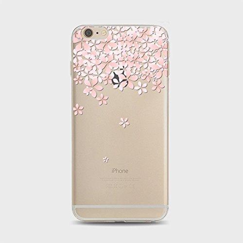 Coque iPhone 7 Housse étui-Case Transparent Liquid Crystal Sakura en TPU Silicone Clair,Protection Ultra Mince Premium,Coque Prime pour iPhone 7 (2016)-style 1 style 8