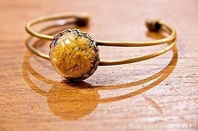 Bracelet en verre - Fleurs naturelles séchées d'Immortelles - 20mm - Cadeau anniversaire - Cadeau de Saint Valentin