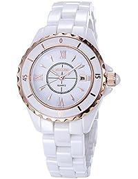 NAKZEN Reloj analógico de Cuarzo para Mujer Blanco Reloj de Moda Reloj Impermeable de Acero Inoxidable