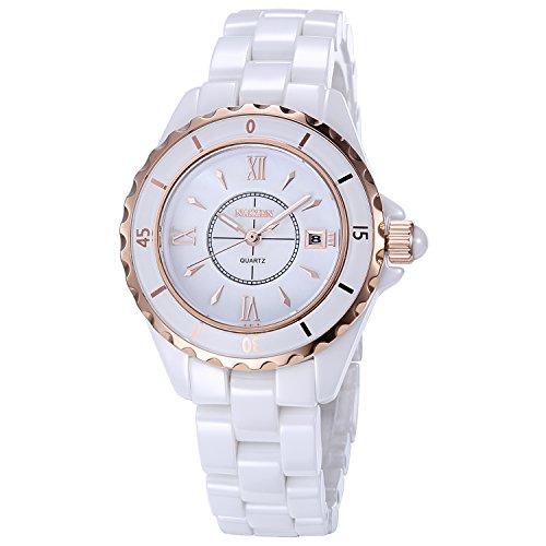 NAKZEN Damen Analoge Quarzuhr NAKZEN Fashion White Watch Edelstahl Wasserdichte Uhr mit Keramikband und Datumsfenster