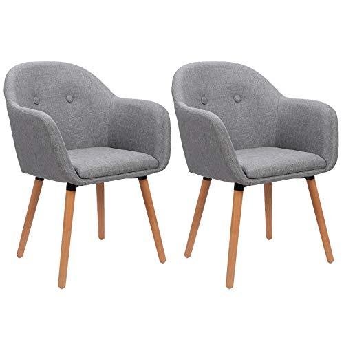 WOLTU Esszimmerstühle BH94hgr-2 2er Set Küchenstuhl Wohnzimmerstuhl Polsterstuhl Design