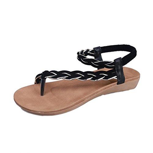 Webla Frauen flache Schuhe Bandage Bohemia Freizeit Strand Sandalen Peep-Toe Outdoor Schuhe Schwarz