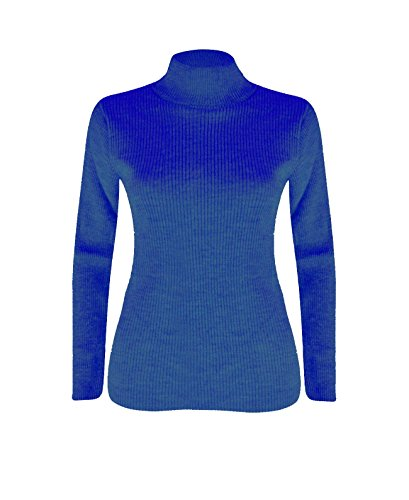 Femmes Polo Roll Over Long Neck Jumper Haut Bleu royal