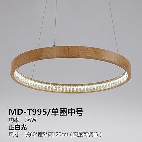 qwer Bassa di lusso LED minimalista lampadari di cristallo creative soffitto in legno sala da pranzo dove i pasti barra di alluminio lampadari con camera da letto luci, fare clic nell'intestazione Numero - lungo 60* 5cm- la larghezza di banda è bianco 36W