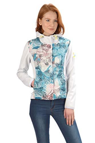 Stayer Damen Winter Softshell-Jacke Thermo-Jacke mit Kapuze Roll-Kragen Weiß bunt Muster (Blau, XL)