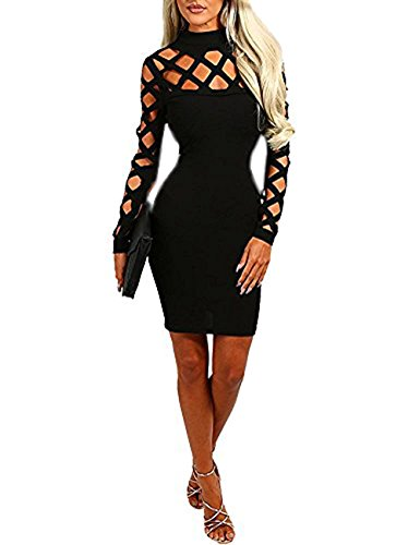 Minetom Damen Halsband Hoch Hals Langarm Lace Up Hollow Out Slim Fit Bodycon Kleider Club Party Cocktail Kleid Schwarz DE 44 (Neck Pullover Scoop Weste)