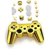 Set Gehäuse Case Hülle + Tasten Knöpfe + Werkzeuge für PS3 Controller Gold