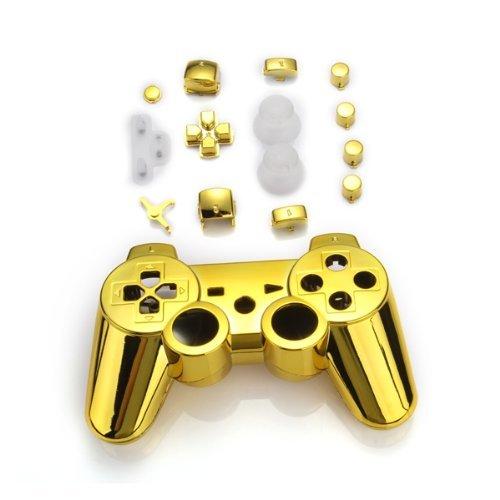 TOOGOO(R) Set Gehaeuse Case Huelle + Tasten Kn?pfe + Werkzeuge fuer PS3 Controller Gold