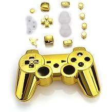 TOOGOO(R) Funda Carcasa Reemplazo para Mando Inalambrico PS3 Color Dorado