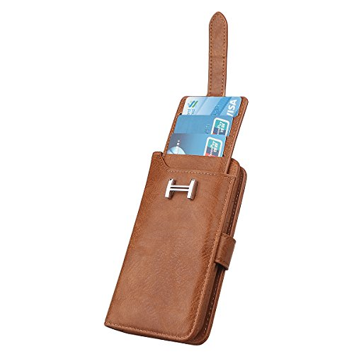 Hülle für iPhone X/10, xhorizon Erstklassiger weicher PU-Leder-magnetischer abnehmbarer Telefon-Kasten Tragetasche Geldbörse mit Kartensteckplätzen für iPhone X / iPhone 10 Braun