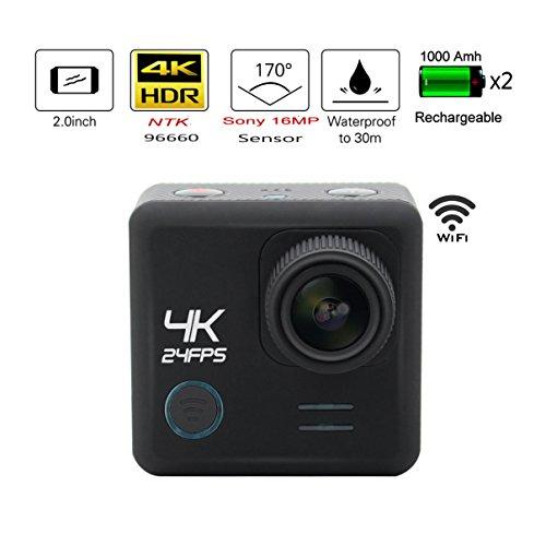 1 + 1 ® 4K WiFi Actionkamera Action Sport Camera Inkl.16MP Sport Kamera 2.0 Zoll Helmkamera Wasserdicht 30M mit 2 Akkus Diversen Halterungen und Wasserdichtem Gehäuse für Unterwasseraufnahmen