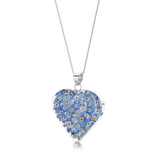 Halskette und Herz- Anhänger mit Vergissmeinnicht Sterling-Silber 925 46cm (Ringe Harz Blume)