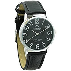 Unisex Silver Plated Mondex / Azaza / MABZ PU Leather Strap Watch (Black Strap With Black Dial)
